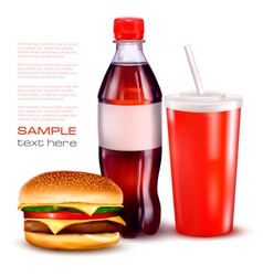 hamburger and cola and bottle vector image