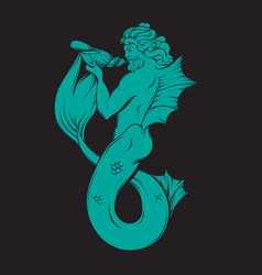 Hand drawn triton in realistic line style vector