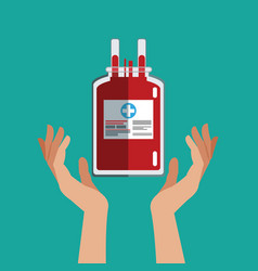 Hand with iv bag donate blood vector