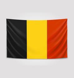 Hanging flag belgium kingdom belgium vector