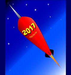 Happy new year rocket 2017 vector