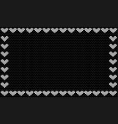 harcoal black fabric knitted background framed vector image