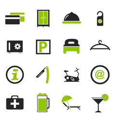 Hotel room icons set vector
