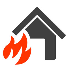 house fire disaster flat icon symbol vector image