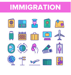 Immigration abroad travel linear icons set vector
