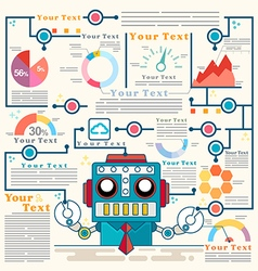 Infographic robot standing confidently graph vector