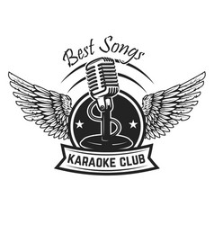 karaoke club label template emblem with vintage vector image