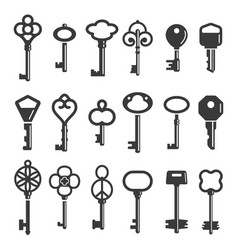 key silhouettes modern and vintage ornamental vector image