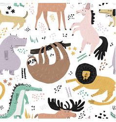 Lazy animals hand drawn color seamless pattern vector