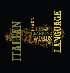 learn the italian language with ease text vector image