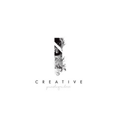 Letter i logo design icon with artistic grunge vector