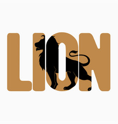 lion logo with double exposure on text vector image