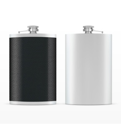 Metal hip leather flask vector