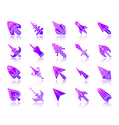 Mouse cursor simple gradient icons set vector