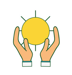 Natural sun and normal weather icon in the hands vector