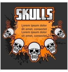 Necklace skull - template for designs vector