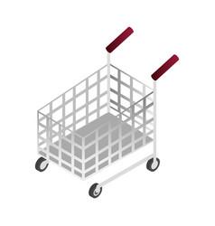 Online shopping market purchasing cart isometric vector