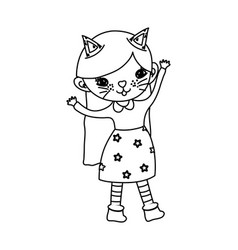 Outline nice girl with kitten halloween custome vector