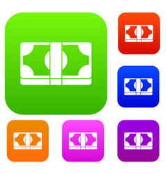 Packed dollars money set collection vector