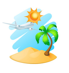 palm tree island and airplane vector image