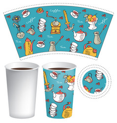 paper cup for hot drink with coffee doodles vector image
