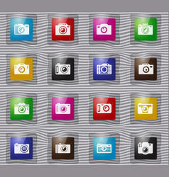 photo camera glass icon set vector image