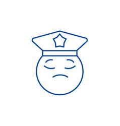 policeman emoji line icon concept policeman emoji vector image