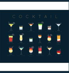 poster cocktails flat menu dark blue vector image