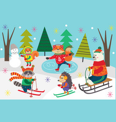 Poster winter fun with animals in forest vector