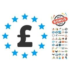 Pound Stars Icon With 2017 Year Bonus Symbols vector