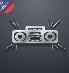 Radio cassette player icon symbol 3D style Trendy vector image