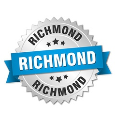 Richmond round silver badge with blue ribbon vector