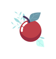 Ripe red apple with green leaf vector