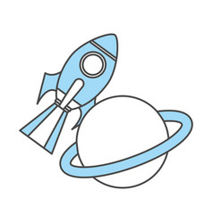 Rocket space with saturn planet vector
