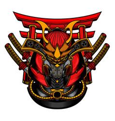 Samurai robot mask vector