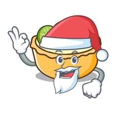 santa fruit tart mascot cartoon vector image