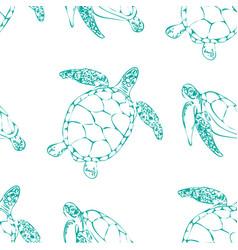 sea turtles seamless background vector image