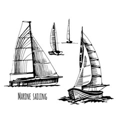 Sea yachts active people vector