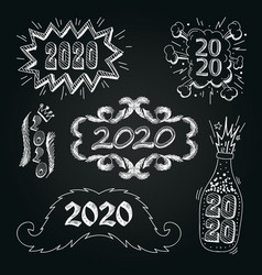 set numbers 2020 hand drawn comic book vector image