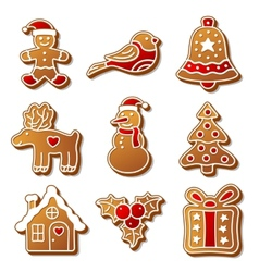 Set of Christmas ginger breads for your design vector image