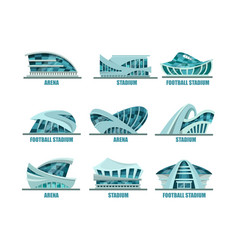 Set of isolated glassware stadiums for soccer vector