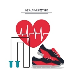 Shoes rope and heart pulse icon fitness design vector