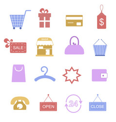 shopping color icons vector image