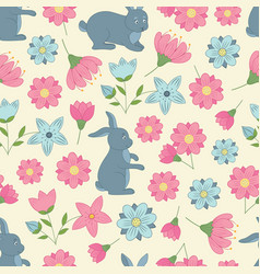 spring seamless pattern with flowers and rabbits vector image