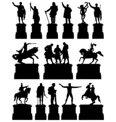 Statues on plinths vector image