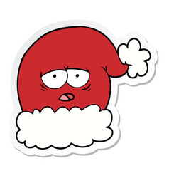 sticker of a cartoon christmas santa hat with vector image