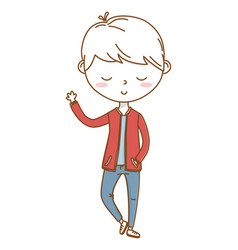 stylish boy cartoon outfit isolated vector image