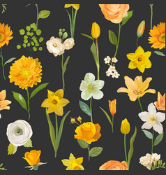 Summer yellow flowers watercolor background vector