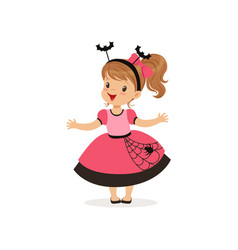 Sweet little girl in halloween costume vector