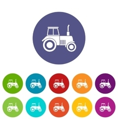 Tractor set icons vector image